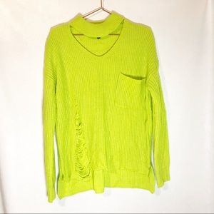 Sweet & Sinful neon distressed sweater size XL